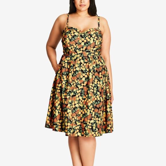 fc6edc6e20 City Chic Dresses | Plus Size Floral Lemon Print Dress 14 Xs | Poshmark